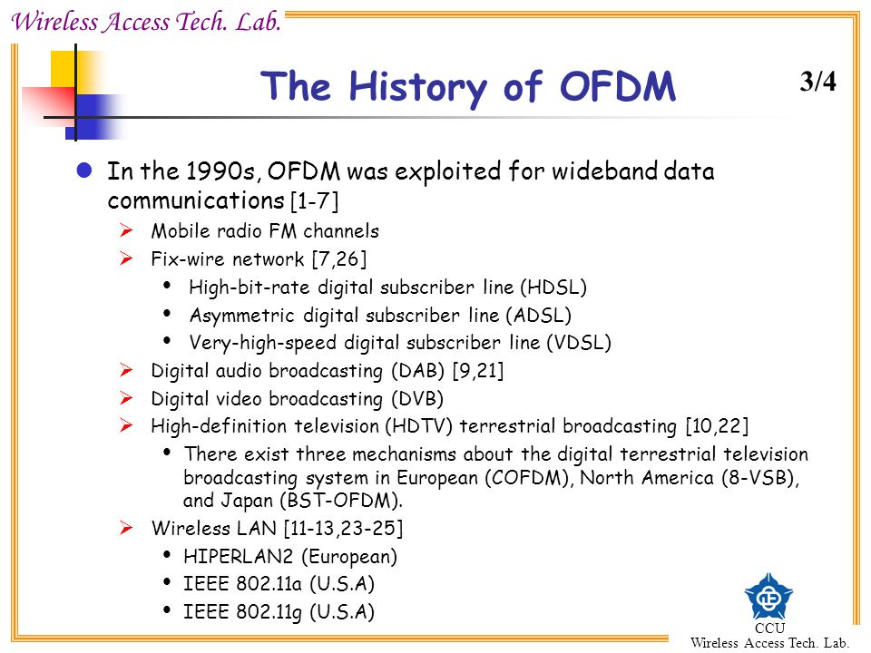 The History of OFDM 3/4. In the 1990s, OFDM was exploited for wideband data communications [1-7] Mobile radio FM channels.